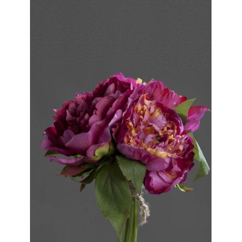 Peony bouquet x3, fuchsia, 12/72  26 cm