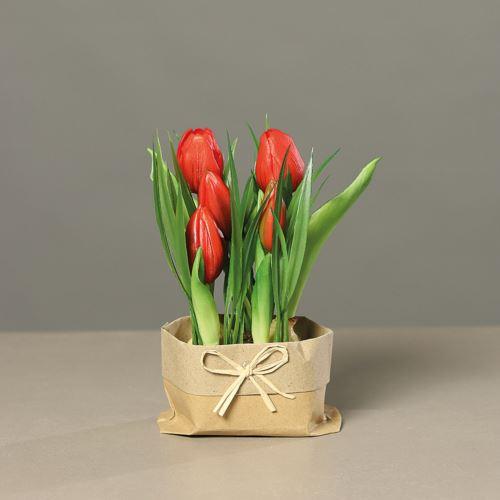 Tulipany kompozycja papier, 19cm, red, 12/48