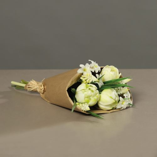 Tulpenarrangement (PU)in paper bag, 33 cm, creme,