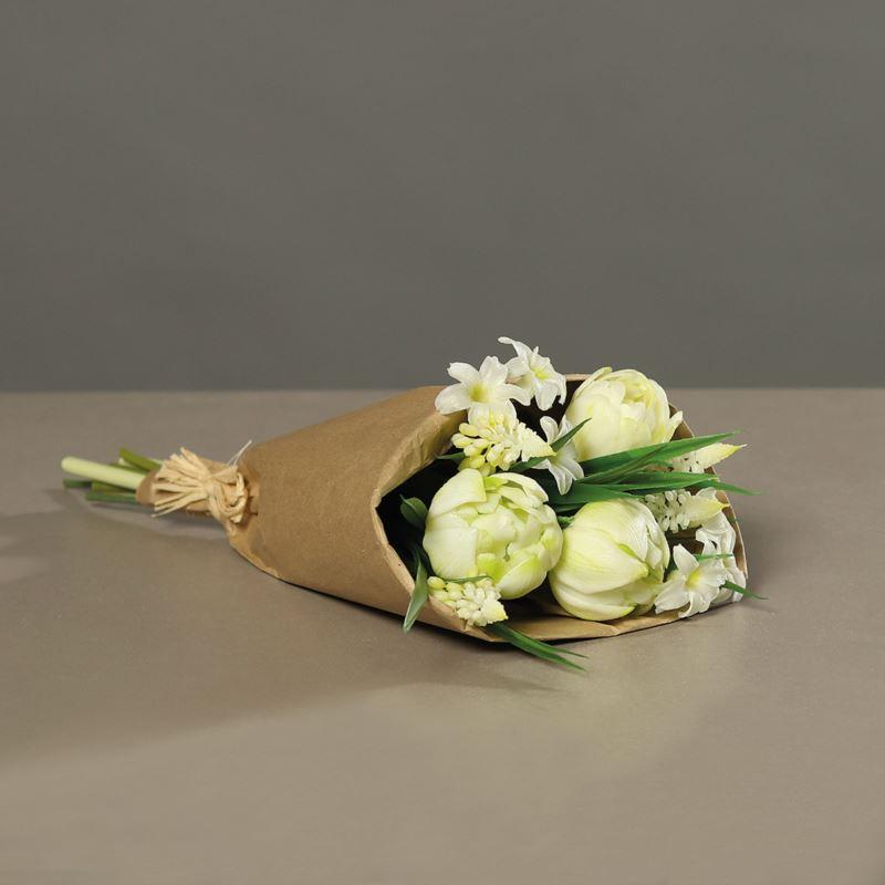 Tulpenarrangement (PU)in paper bag, 33 cm, creme,