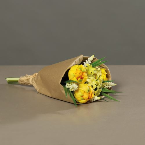 Tulpenarrangement (PU)in paper bag, 33 cm, yellow,