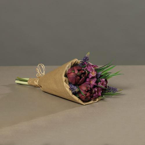 Bukiet tulipanów w papierze, 30 cm, purple,