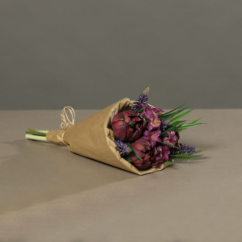 Tulpenarrangement (PU)in paper bag, 30 cm, purple,