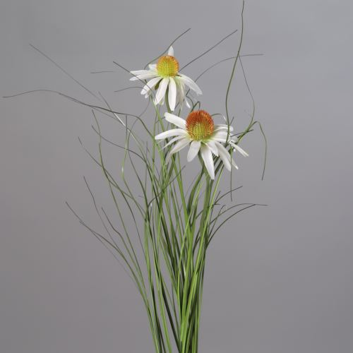 Sunflower with 2 flowers and grass, 92 cm, cream,