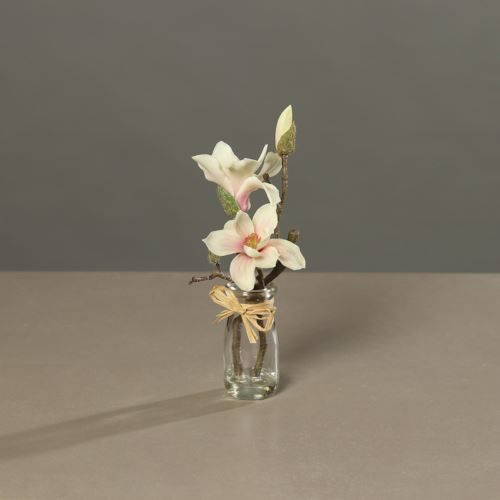 Magnolia (PU)with 2 flowers in Glas, 23 cm, cream,
