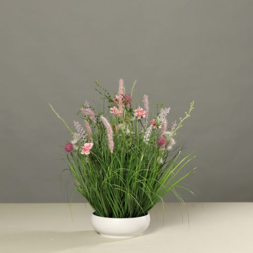 Meadow flowers in platic bowl, 50 cm, pink, 6/6