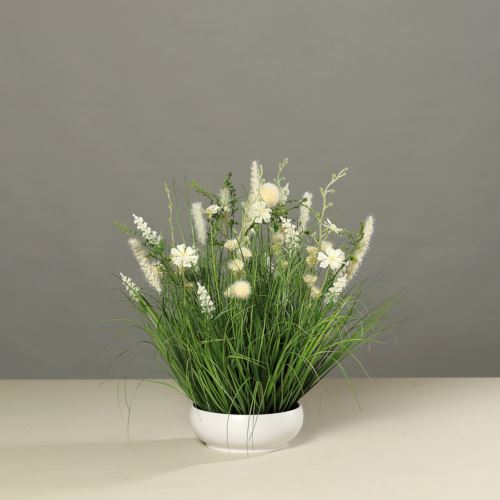 Meadow flowers in platic bowl, 50 cm, creme, 6/6
