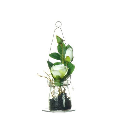 Róża w szkle 19 cm 57106-33 cream