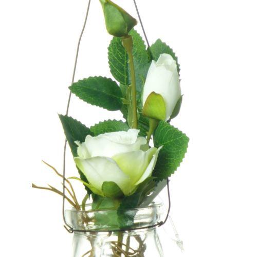 Rose in hanging glass 19 cm 57106-33 cream