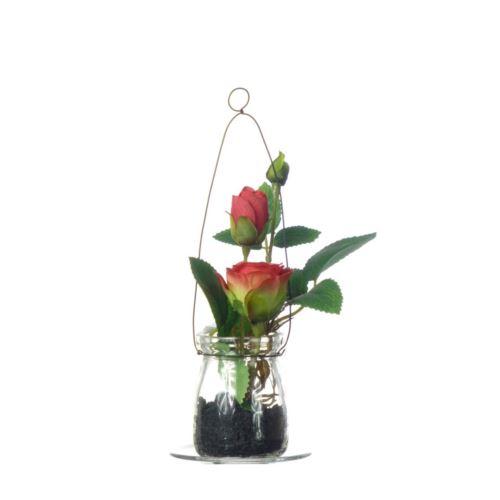 Róża w szkle 19cm 57106-33 red