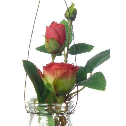 Rose in hanging glass 19cm 57106-33 red
