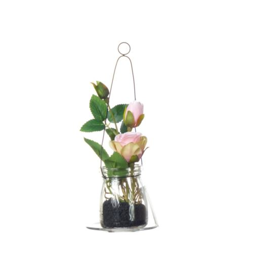 Rose in hanging glass 19cm 57106-33 pink