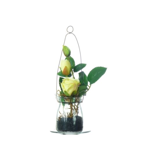 Rose in hanging glass 19cm 57106-33 yellow
