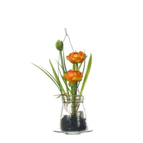 Ranunculus w szkle 18 cm 57107-1 orange