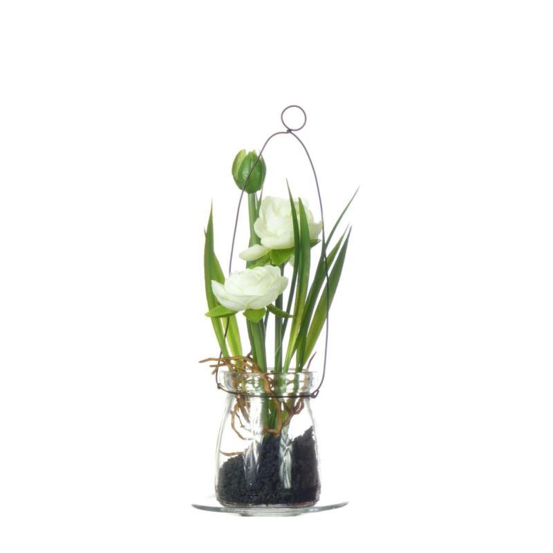 Ranunculus im Hanging glas18 cm 57107-2 cream