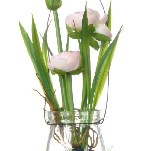 Ranunculus im Hanging glas18 cm 57107-2 pink