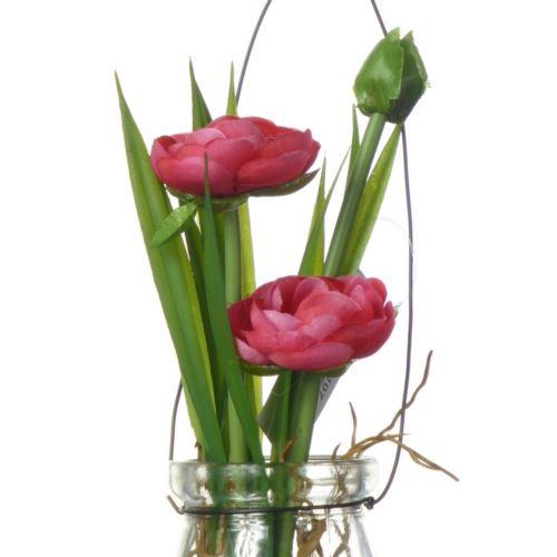 Ranunculus im Hanging glas18 cm 57107-2 fuchsia