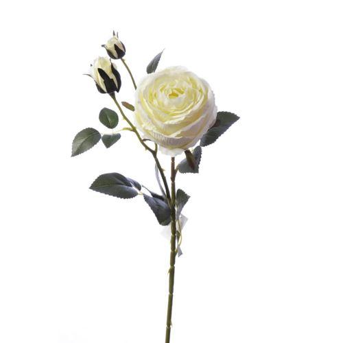Gałązka róży 76cm lemon