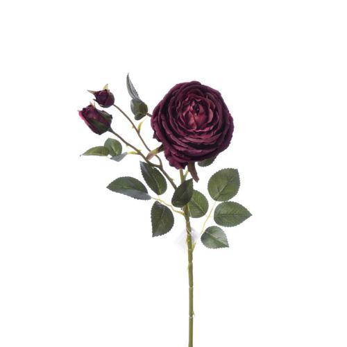 Gałązka róży 76cm burgundy