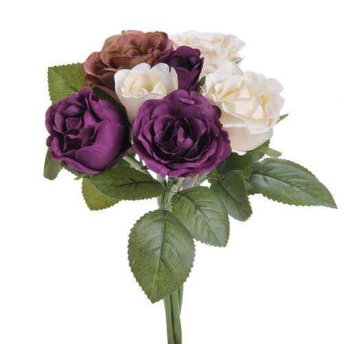 Bukiet roz miks x 7 - sztucz. rosl. cream violet brown