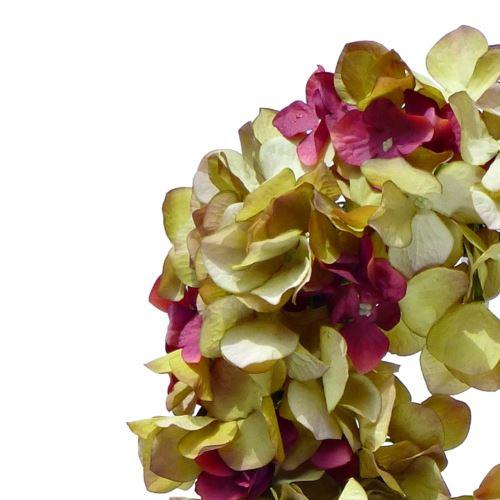 Wianek z hortensji 30cm green burgundy 935692