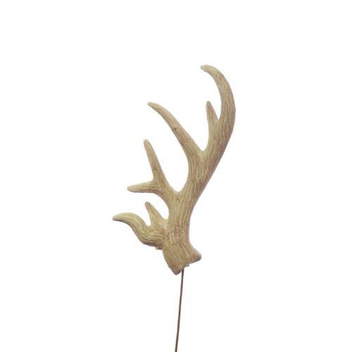 Antler deer on pick natural 33cm