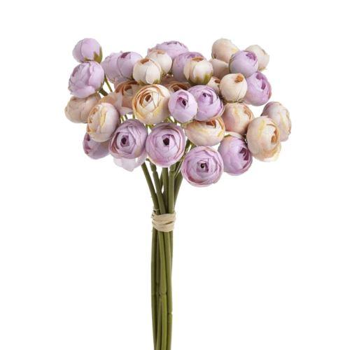 Bukiet drobnych jaskrów 36 kwiatów 30cm lt pink violet