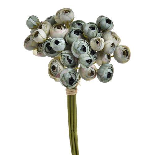 Bukiet drobnych jaskrów 36 kwiatów 30cm dirty green blue