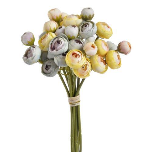 Bukiet drobnych jaskrów 36 kwiatów 30cm lt blue lt peach