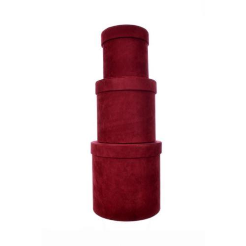 VELVET FLOWER BOX 3SZT/KPL BURGUNDY RED