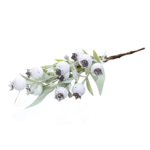 Zimowa gałązka z białymi głogami i liśćmi 22cm