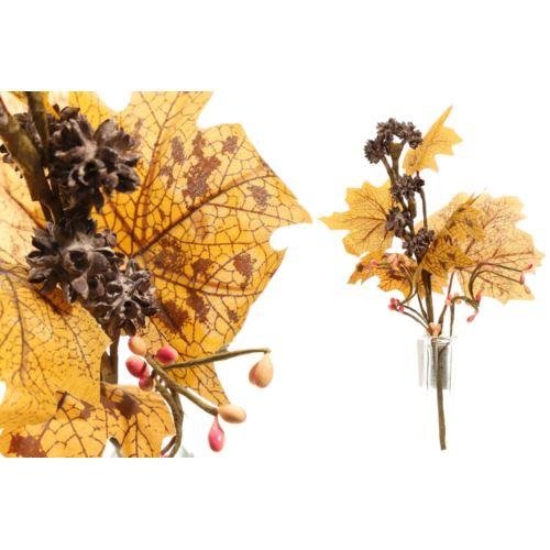 Jesienna gałązka z liśćmi 25cm