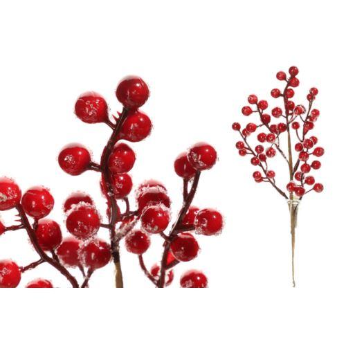 Gałązka głóg  czerwona z śniegiem 27cm
