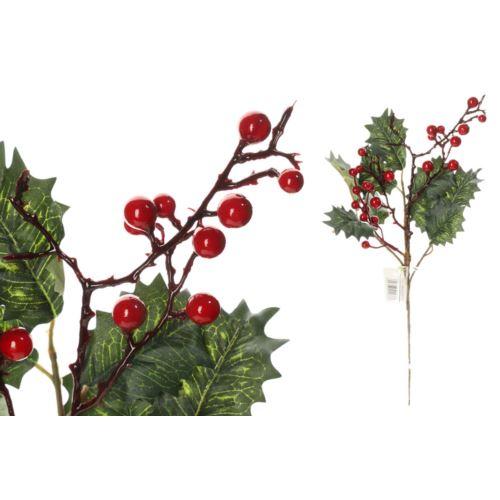 Gałązka ostrokrzew z owocami 36cm