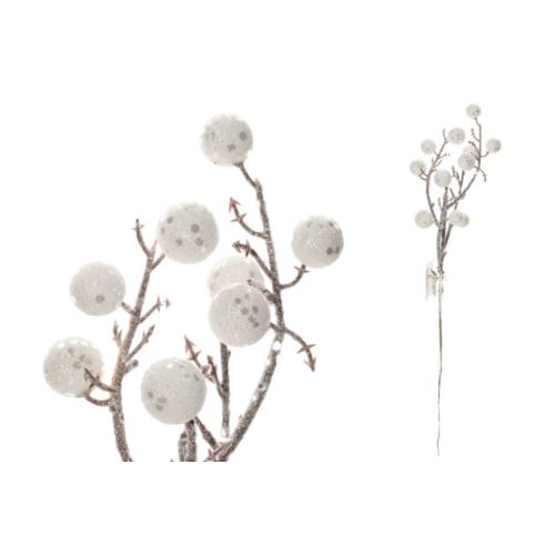 Gałązka kulki brokat 35 cm white