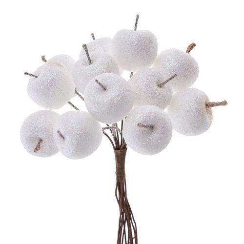 Jabłuszka brokat 12szt/pecz. x12 -sztucz.owoc WH