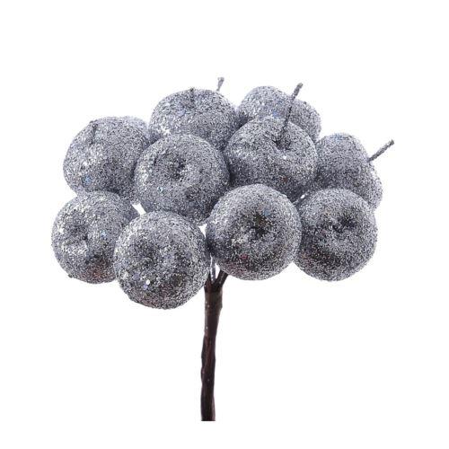 Jabłuszka brokat 12szt/pecz. x12 -sztucz.owoc SLV