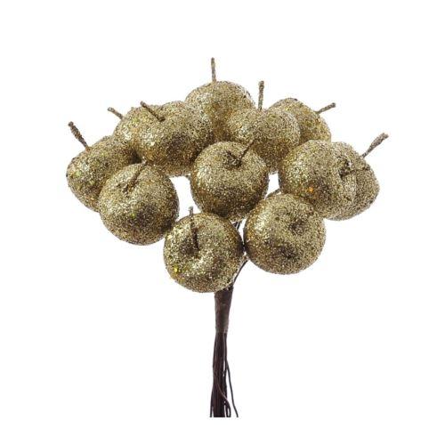 Jabłuszka brokat 12szt/pecz. x12 -sztucz.owoc GLD