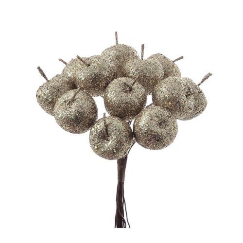 Jabłuszka brokat 12szt/pecz. x12 -sztucz.owoc CHAM
