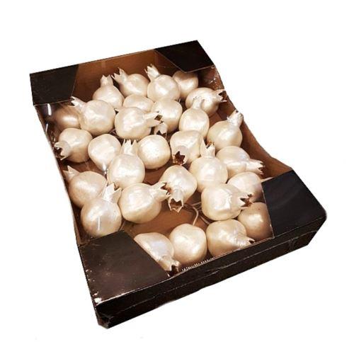 Biale granaty na piku małe  30szt/op Pearl