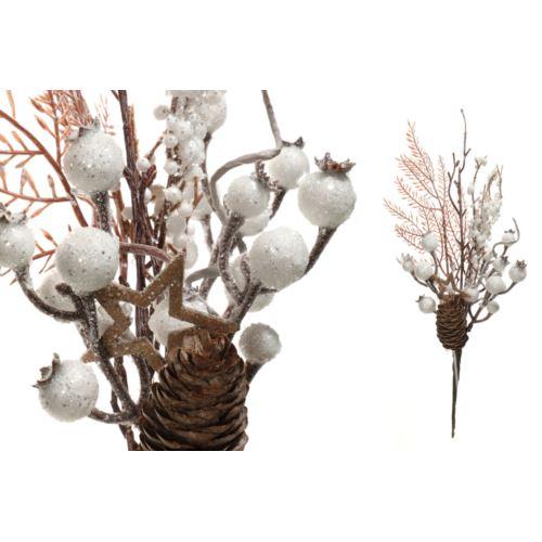 Gałązka świąteczna z białymi owocami 30cm