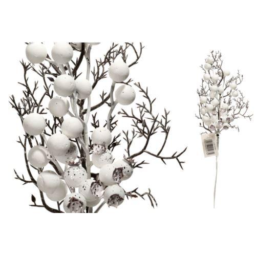 Gałązka zimowa z białymi głogami 32cm