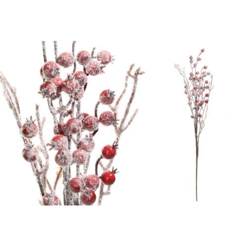 Gałązka z czerwonymi głogami szron 50cm