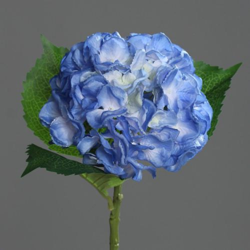 hydrangea with 3 leaves, 44 cm, light-blue , 24/14
