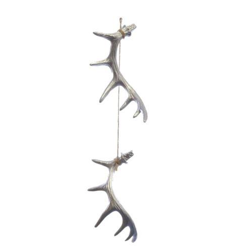 Rogi Antler deer 16 cm  na sznurku kpl. 2szt silve