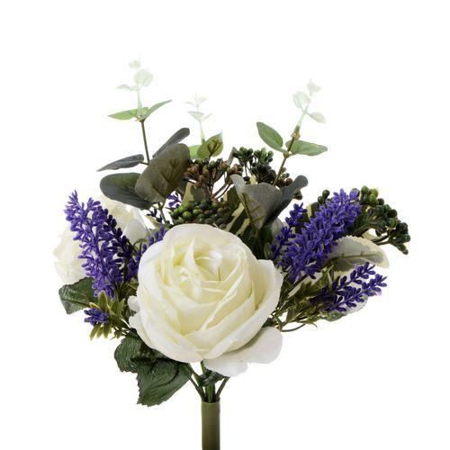 Róża - bukiet z dodatkami 34cm white