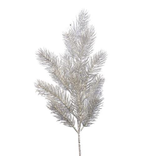 Gałązka świąteczna świerk brokat 48cm ch088 silver