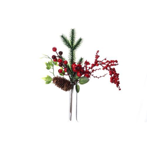 Gałązka z czerwonymi głogami i szyszką 28 cm