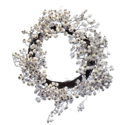 Wianek ozdobny z bialej dzikiej rózy śr 46 cm