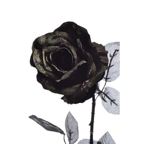 Róża czarna z brokatem 77cm black